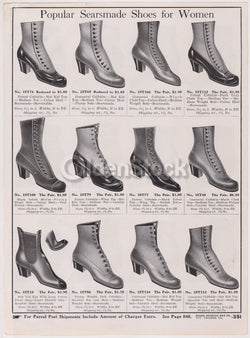 Sears Victorian Women's Heeled Shoes & Boots Designs Antique Graphic Advertising Flyer Print