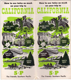 Southern Pacific Sunset Route California Vintage Graphic Advertising Travel Brochure