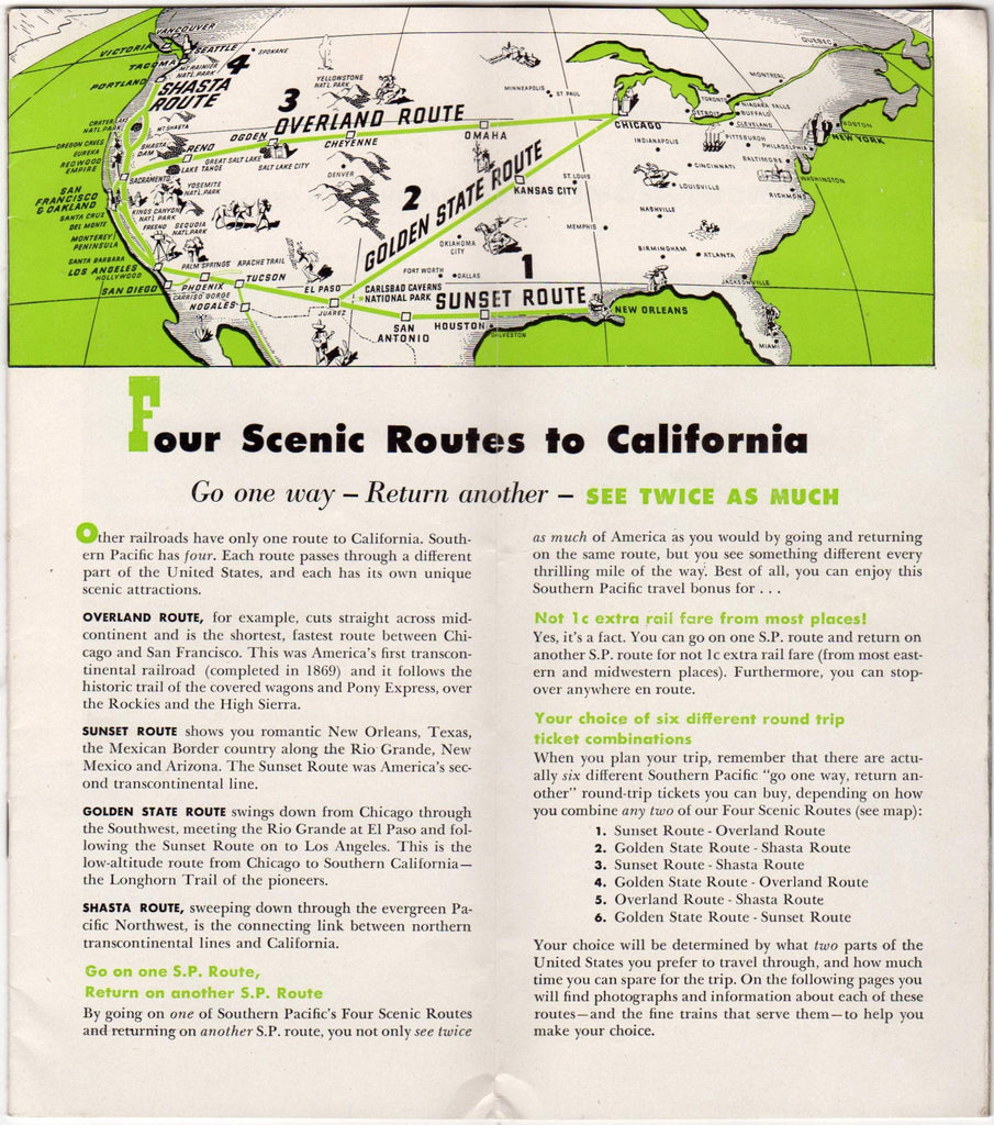 southern pacific sunset route california advertising travel brochure