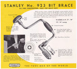 Stanley Tools Drill Bit Brace No.923 Vintage Graphic Advertising Sales Flyer