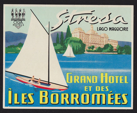 Stresa Lago Maggiore Grand Hotel Vintage Graphic Advertising Luggage Tag Sticker