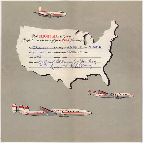 TWA Airlines Flight Routes Maps Graphic Advertising Travel Brochure - Vintage aviation maps