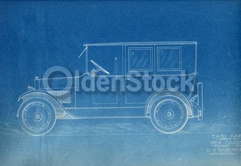 H.H. Babcock REO Chassis Taxi Cab Antique Automobile Design Blueprint Poster 1922