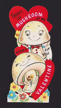 There's So Mushroom In My Heart! Vintage Valentine's Day Greeting Card