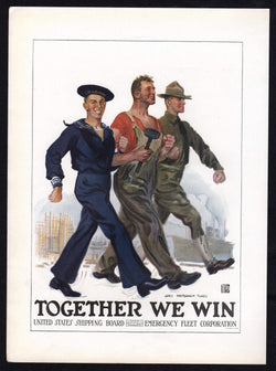 Together We Win James Montgomery Flagg Vintage Patriotic WWI War Bonds Poster Print
