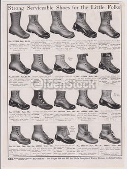 Victorian Boys & Girls Heavy Leather Shoes Designs Antique Graphic Advertising F