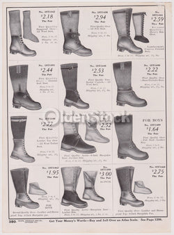Victorian Heavy Rain Boots Sears Roebuck Designs Antique Graphic Advertising Print
