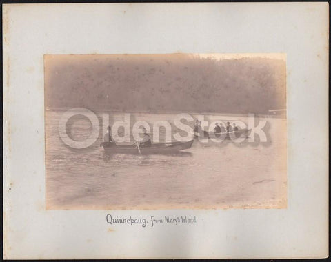 Victorian Men & Women Sailing on Quonnipaug Lake CT Antique Nature Photographs