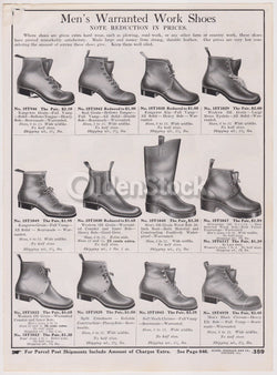 Victorian Men's Leather Work Shoes Sears Roebuck Designs Antique Graphic Advertising Print