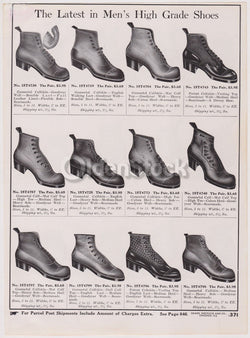 Victorian Men's Shoes High Fashion Sears Roebuck Designs Antique Graphic Advertising Print