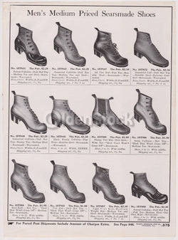 Victorian Men's Shoes Sears Roebuck Designs Antique Graphic Advertising Print