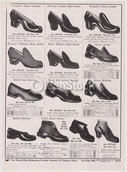 Victorian Women's Heeled Rain Shoes Designs Antique Graphic Advertising Flyer Pr