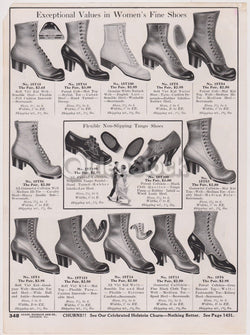 Victorian Women's High Heels Shoes Antique Graphic Advertising Flyer Print