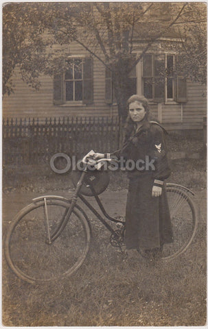 WWI Yeoman Navy Girl in Uniform Bicycling Antique Outdoor Real Photo Postcard RPPC