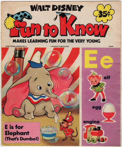 Walt Disney Alphabet E Is For Elephant Vintage Kids Education Cartoon Book