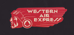 Western Air Express Vintage Native American Graphic Art Advertising Luggage Sticker Decal