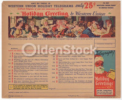 Western Union Holiday Telegrams Vintage Santa Clause Graphic Advertising Christmas Flyer