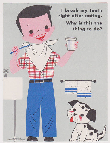 Why We Should Brush Our Teeth Cute Little Boy & Dog Vintage Dentists Office PSA Advertising Mini Poster