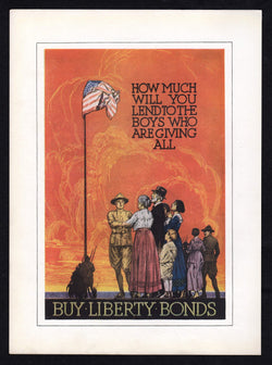 Young Soldiers Give All Support Our Troops Vintage WWI Liberty Bonds Propaganda Poster Print