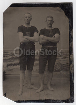 Men in Swimsuit Team Uniforms Large Antique Tintype Photo with Beach Backdrop