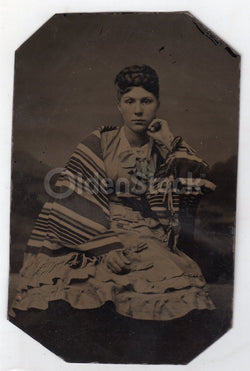 Lovely Young Victorian Woman in Striped Navajo Blanket Antique Tintype Photo