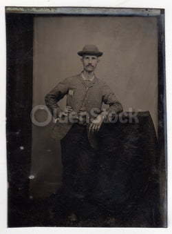 Dapper Gent in a Checkered Jacket and Bowler Hat Antique Tintype Photo