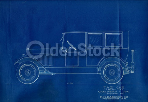 Chalmers Taxi Cab HH Babcock Antique Automobile Design Blueprint Poster 1922