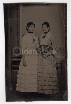 Woman in Plaid Dress with Victorian Fan and Gold Bracelet Antique Tintype Photo