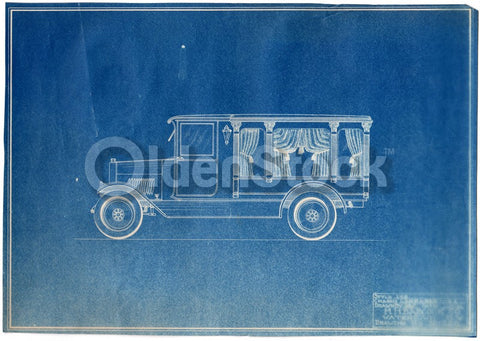 Funeral Hearse H.H. Babcock Antique Automobile Design Blueprint Poster 1922