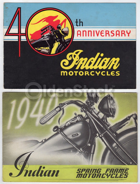 Indian Motorcycles Vintage Graphic Advertising Auto Bike Sales Brochures 1940s