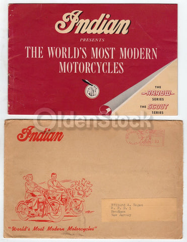 Indian Arrow and Scout Motorcycles Vintage Graphic Advertising Brochure 1949
