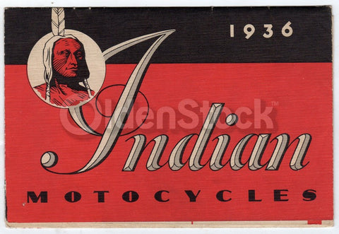 1936 Indian Motorcycles Indian 4 and Scout Antique Graphic Advertising Brochure