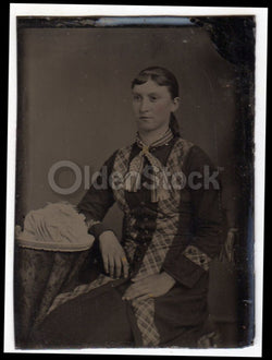 Young Woman in Plaid Trim Dress and Fancy Hat Crisp Antique Tintype Photo