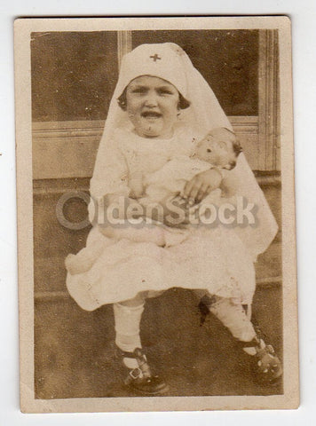 Cute Little Red Cross Girl and Her Composition Doll Antique WWI Snapshot Photo