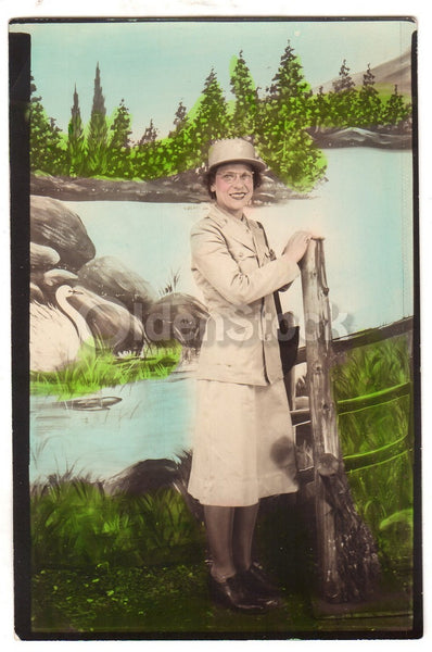WAC Military Woman in Uniform Vintage WWII Era Artistic Studio Snapshot Photo