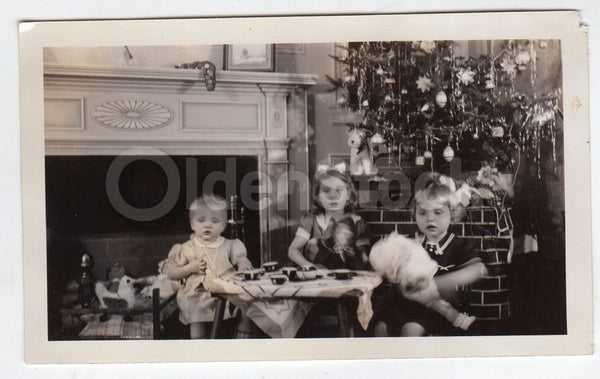 Christmas Morning Tea Party under the Christmas Tree Vintage Snapshot Photo