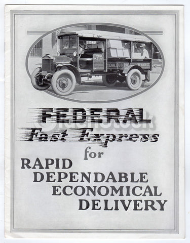 Federal Motor Trucks Detroit Automobiles Antique Graphic Advertising Sales Book