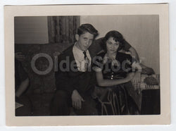 Young Stud and His Sassy Date Vintage 1950s Fun Date Night Snapshot Photo