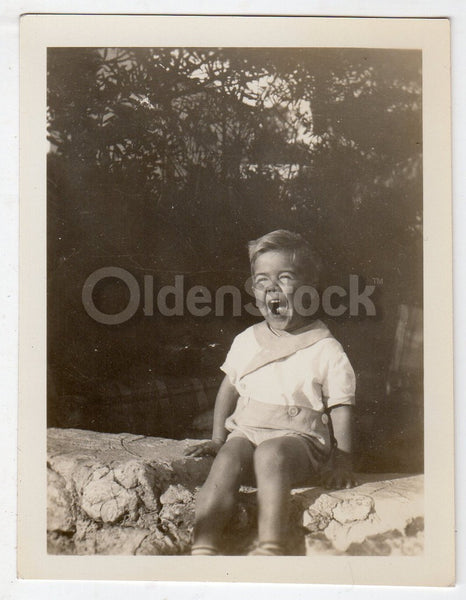 Jubilant Laughing Little Boy in Jumper Vintage Americana Snapshot Photo