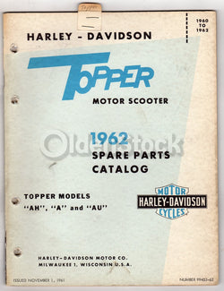 Harley Davidson Topper Motorcycle Scooter Spare Parts Catalog 1961 1962