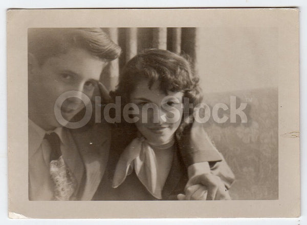 Sassy Girl with Intense Eye Gaze Excellent Vintage 1950s Snapshot Photo