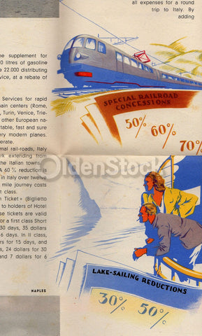 Italian Vacations Vintage 1930s Graphic Advertising Italy Travel Poster Brochure