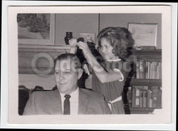Mischievous Little Girl Styling Dad's Hair Fun Vintage 1950s Snapshot Photo