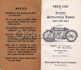 Minneapolis Motorcycle Company Antique Auto-Cycle Parts Booklet 1911 - 1912