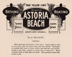 Astoria Beach New York Aquatic Sports Antique Art Deco Signage Print