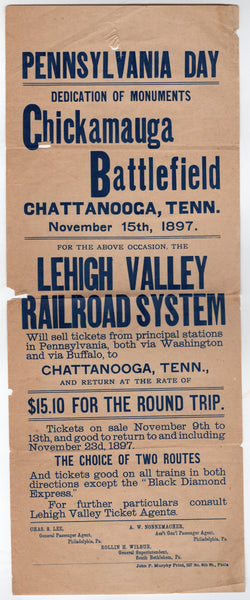 Lehigh Valley Railroad Civil War Battlefield Monuments 1890s Advertising Poster