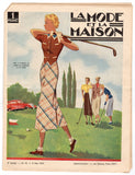 Women's Golf Graphic Art Advertising Antique French Fashion Magazine 1937