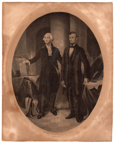 Presidents Abe Lincoln and George Washington Antique Graphic Engraving Print