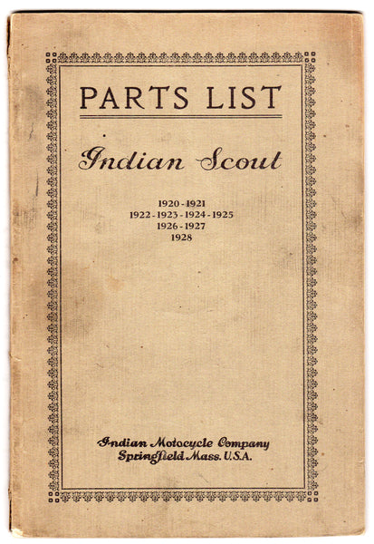 Indian Scout Motorcycles Parts List 1920-1928 Antique Auto Repair Catalog Book