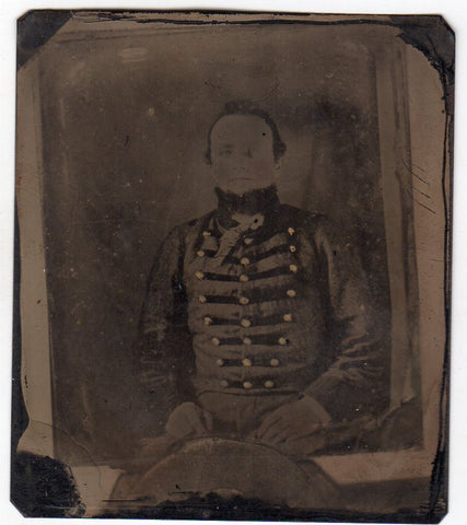 Civil War Tintype of Soldier in Uniform - Copy Taken from a Daguerreotype